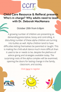 CCRR Presents: Who's in Charge? Why Adults Need to Lead! @ Virtual