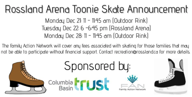 FAN Sponsoring Family Skates in Rossland